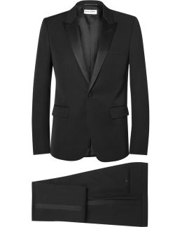 Black Slim-fit Silk-trimmed Virgin Wool Tuxedo