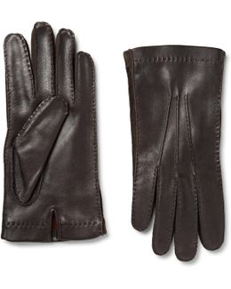 Suede-trimmed Leather Gloves