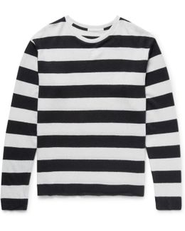 Striped Cashmere And Linen-blend Sweater