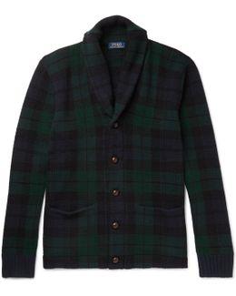 Blackwatch Checked Shawl-collar Wool Cardigan