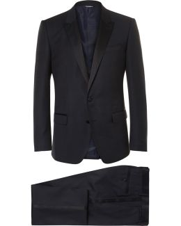Blue Slim-cut Silk-trimmed Virgin Wool-blend Tuxedo