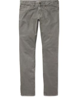 Slim-fit Textured Stretch-cotton Trousers