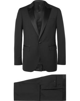 Black Slim-fit Satin-trimmed Wool And Mohair-blend Tuxedo