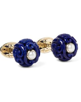 Canton 18-karat Gold, Lapis And Pearl Cufflinks