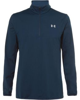 Fleece-back Stretch-jersey Half-zip Golf Top