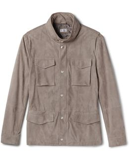 Slim-fit Corduroy-effect Suede Field Jacket