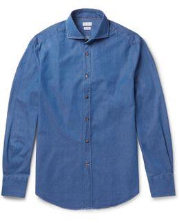 Slim-fit Cutaway-collar Cotton-chambray Shirt
