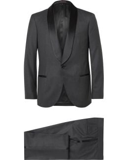 Grey Slim-fit Satin-trimmed Wool And Silk-blend Tuxedo