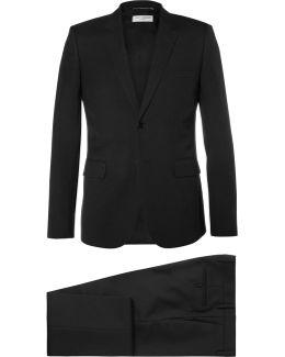 Black Slim-fit Virgin Wool-gabardine Suit