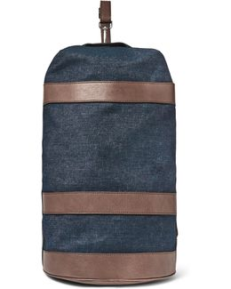 Leather-trimmed Denim Duffle Bag
