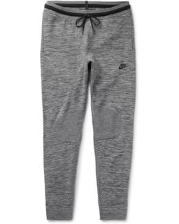 Slim-fit Tapered Stretch Cotton-blend Tech Knit Sweatpants