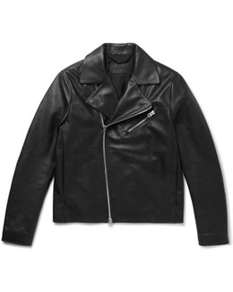 Axl Slim-fit Suede-panelled Leather Jacket