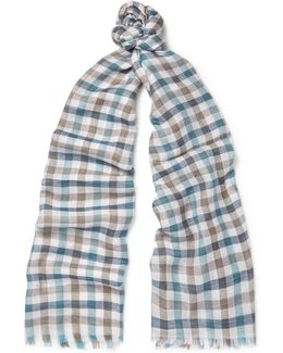 Checked Cashmere And Silk-blend Scarf
