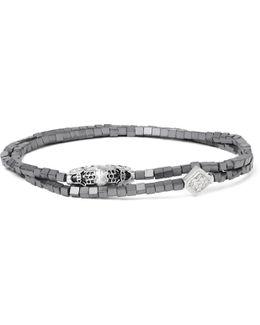 White Gold, Hematite And Crystal Wrap Bracelet
