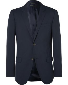 Blue Hudson Slim-fit Silk-seersucker Blazer
