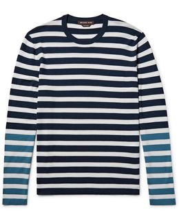 Colour-block Striped Merino Wool T-shirt