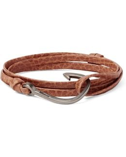 Hook Grained-leather And Sterling Silver Wrap Bracelet