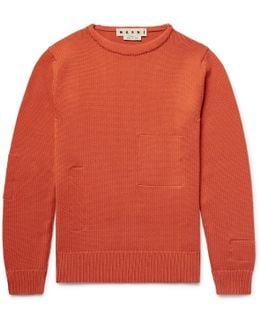 Cotton-appliquéd Wool Sweater