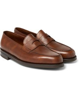 Lopez Pebble-grain Leather Penny Loafers