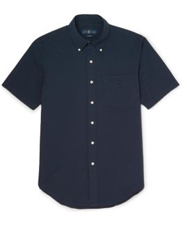 Slim-fit Button-down Collar Cotton-seersucker Shirt