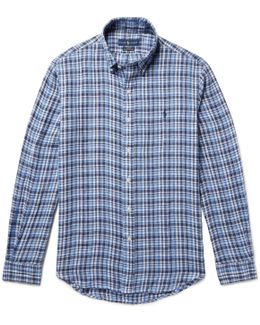 Slim-fit Button-down Collar Checked Linen Shirt
