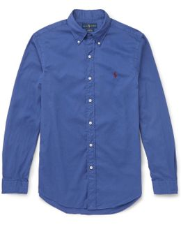 Slim-fit Button-down Collar Washed-cotton Shirt