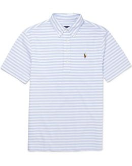 Slim-fit Button-down Collar Striped Cotton-piqué Polo Shirt