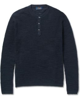 Waffle-knit Cotton And Linen-blend Henley Sweater