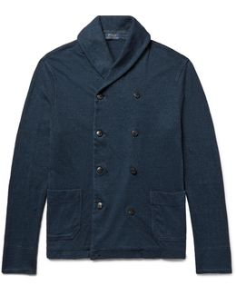 Shawl-collar Double-breasted Cotton Cardigan