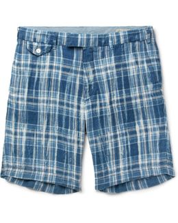 Slim-fit Checked Linen Shorts