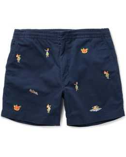 Slim-fit Embroidered Stretch-cotton Twill Shorts