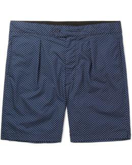 Sunset Slim-fit Polka-dot Cotton-poplin Shorts