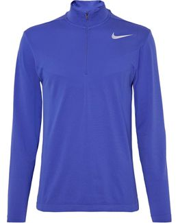 Mesh-panelled Knitted Dri-fit Half-zip Top