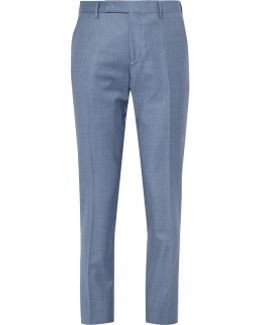 Blue Wool-twill Suit Trousers