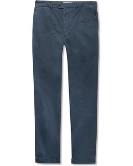 New Fisherman Slim-fit Garment-dyed Cotton And Linen-blend Chinos