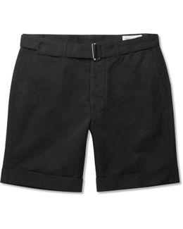 Julian Belted Cotton And Linen-blend Shorts