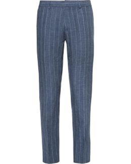 Blue Sutton Slim-fit Striped Slub Linen Trousers