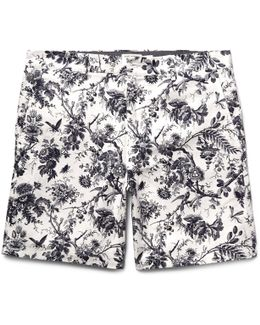 Baxter Slim-fit Printed Linen And Cotton-blend Shorts