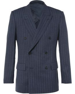 Blue Harry Double-breasted Pinstriped Wool Suit Jacket