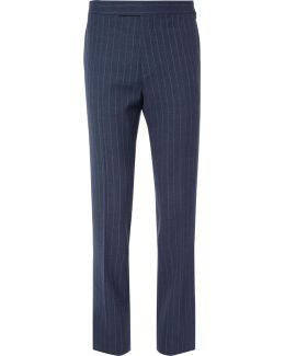 Blue Harry Pinstriped Wool Suit Trousers