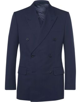 Blue Harry Double-breasted Cotton-twill Suit Jacket