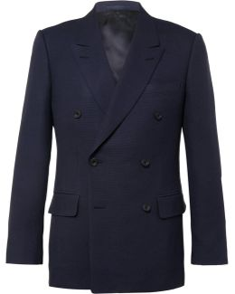 Blue Harry Double-breasted Wool And Mohair-blend Hopsack Blazer
