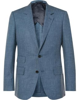 Blue Eggsy Slim-fit Mélange Wool, Silk And Linen-blend Suit Jacket