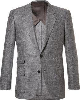 Grey Eggsy Slim-fit Donegal Silk And Linen-blend Herringbone Blazer