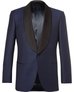 Blue Slim-fit Faille-trimmed Wool Tuxedo Jacket