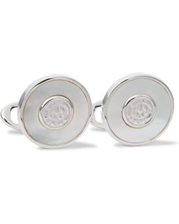 Ad Engraved Silver-tone Mother-of-pearl Cufflinks