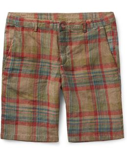Vela Watercoloured-dyed Checked Linen Shorts
