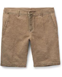 Vela Slim-fit Watercolour-dyed Linen And Cotton-blend Shorts
