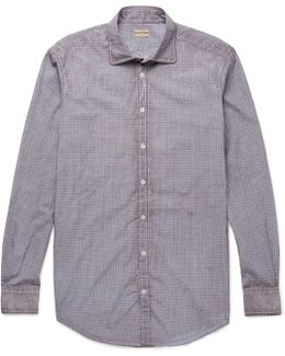 Canary Watercolour-dyed Checked Cotton-poplin Shirt