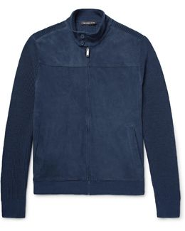 Suede-panelled Ribbed-knit Linen And Cotton-blend Jacket
